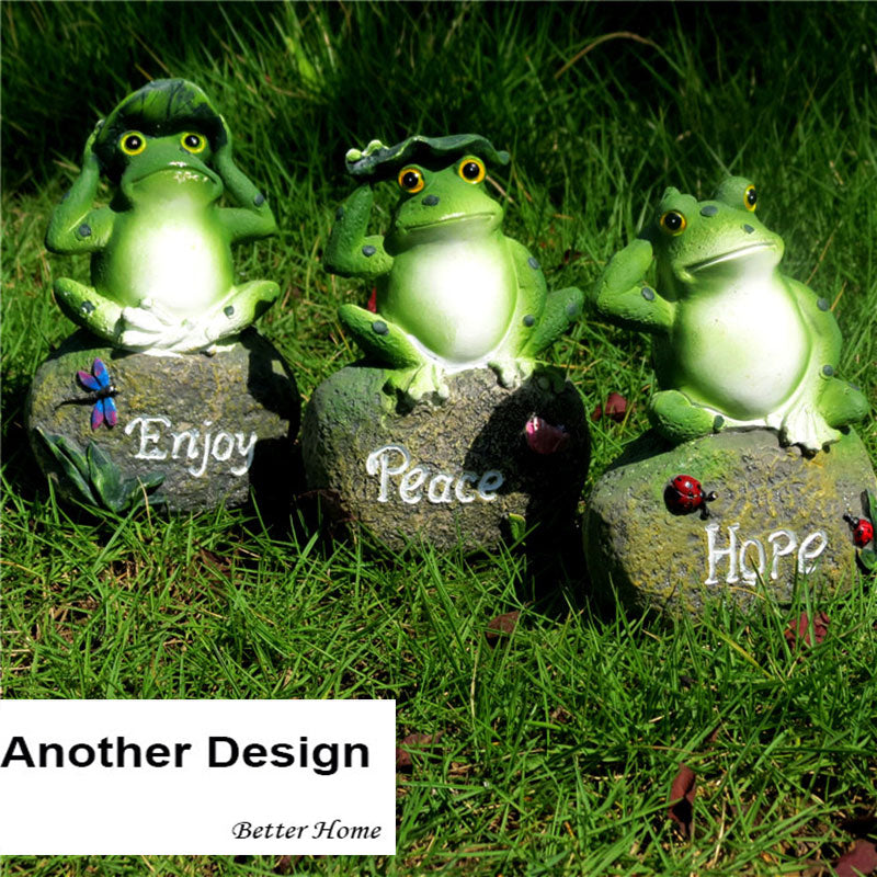 3pcs/pack decorative frog sitting on stone -miniature garden  statue outdoor figure