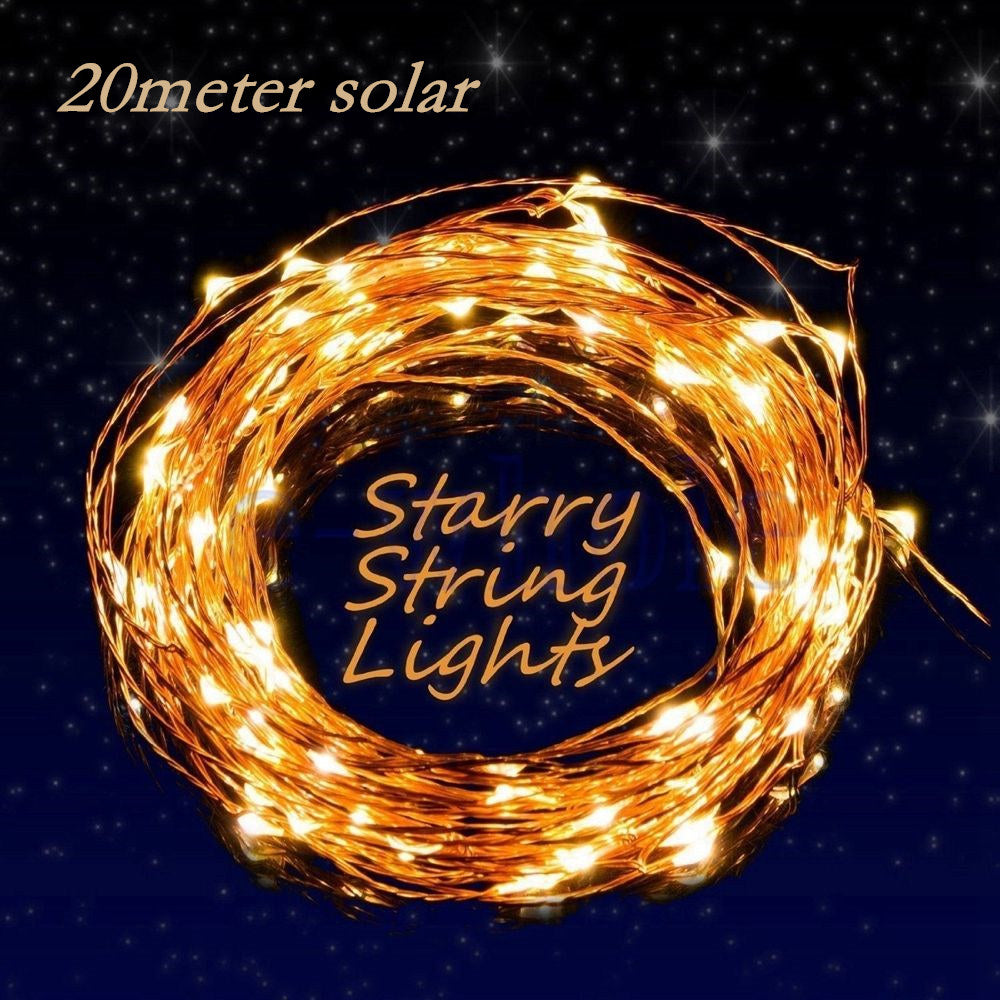 200 LEDS 20M Solar Power Waterproof copper string light