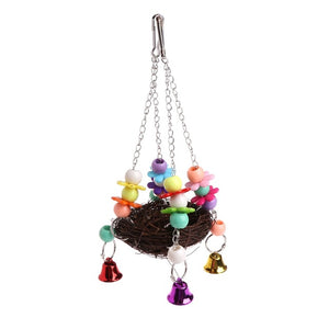 Natural Rattan Nest Bird Swing  with Bells