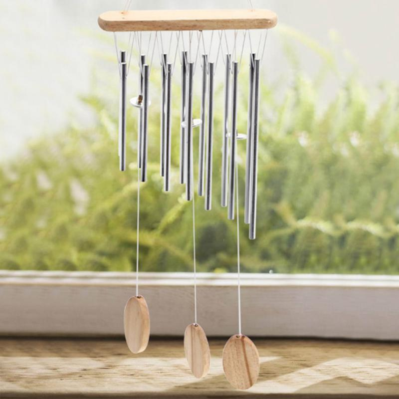 Relaxing Wood and Copper Tubes Wind Chimes Bells Bring Silvery Sound To The Garden