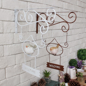 Wrought Iron Bird Welcome Sign