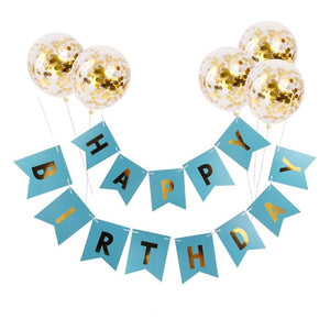 White Happy Birthday Banner Gold Confetti Balloons Letter Banner Birthday Party Decorations