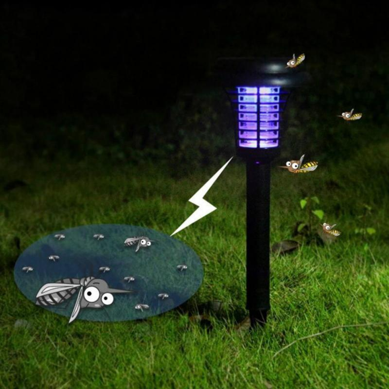 LED Solar Powered  Anti Mosquito Insect Pest Bug Zapper Outdoor Yard Garden Lawn Light