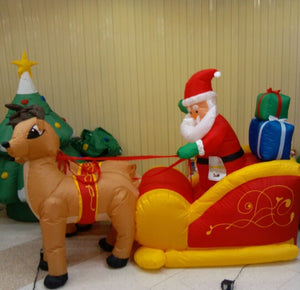 Giant Inflatable Santa Claus Double Deer Sled LED Lighted Blows Up  Christmas Props