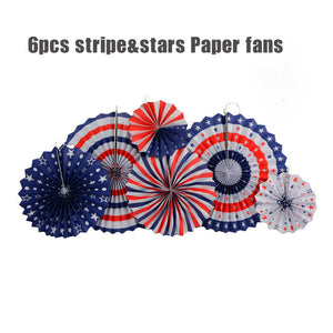 American Style Blue Red Striped Paper Fan For Party Decoration Holiday Hanging Paper