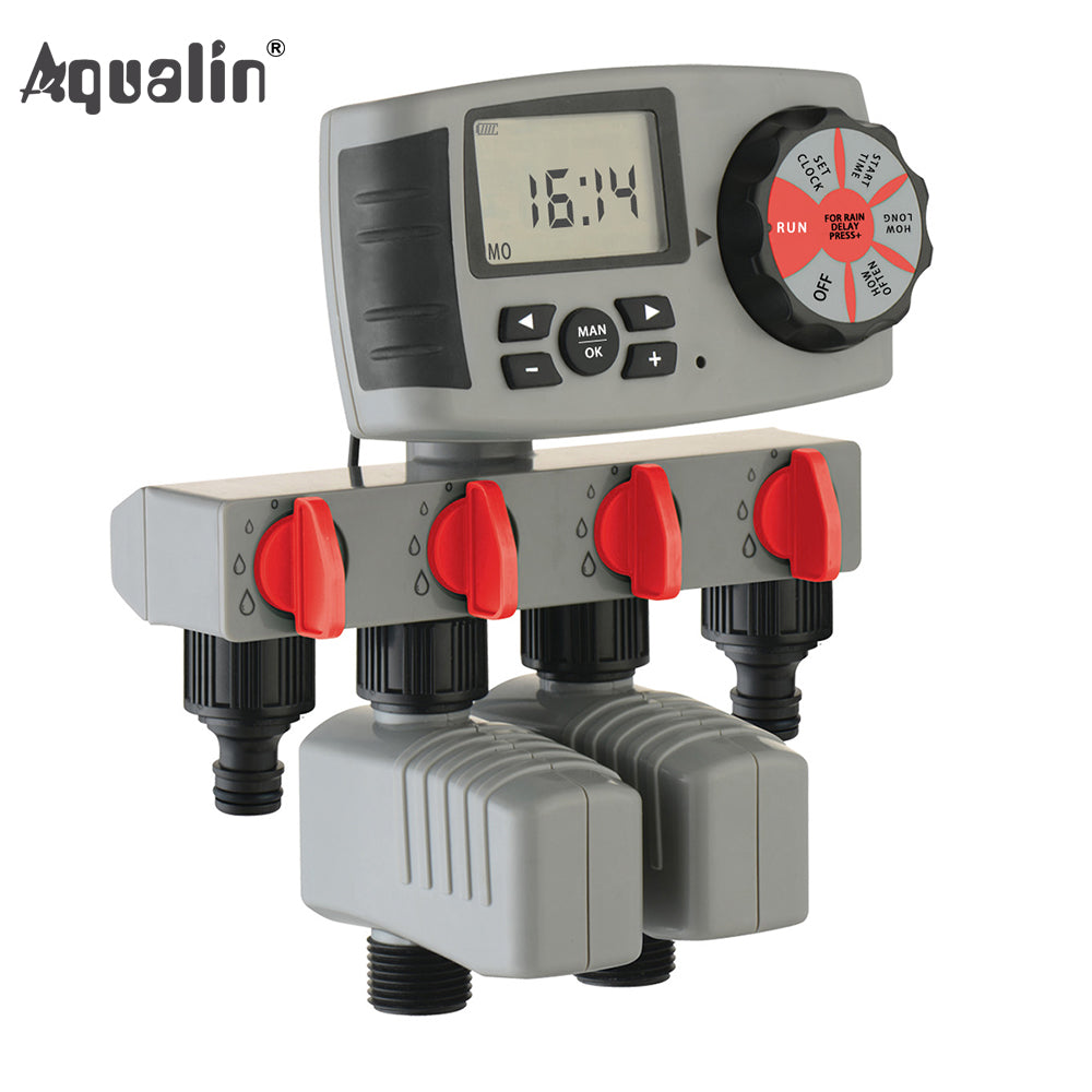 Aqualin Automatic 4-Zone Irrigation System Watering Timer