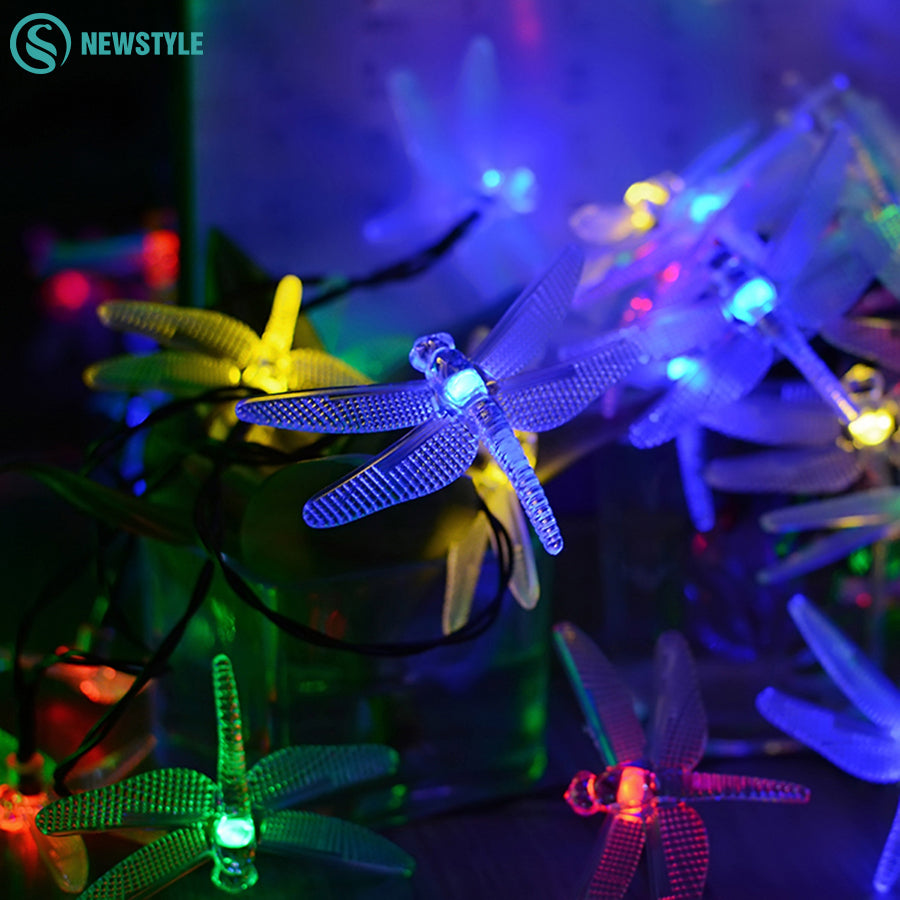 30LEDs Solar Power Dragonfly String Lights