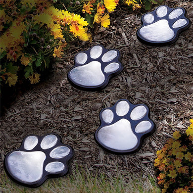 Paw Print Solar Garden Lights -1 Set of 4 Animal Paws Design Outdoor Landscape decorative LED Lights
