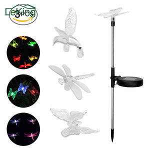 3 PCs Solar LED  Butterfly/ Dragonfly /Hummingbird Lawn Stake Garden Light