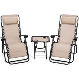 3PC Zero Gravity Reclining Lounge Chairs with Pillows and Portable Folding table