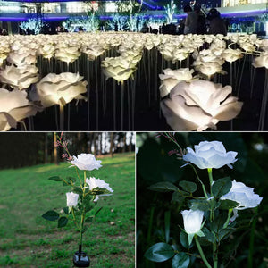 LED Solar Power White Rose Light Lamps Garden Outdoor Lights
