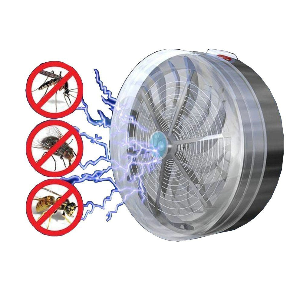 Solar Powered Electronic Anti Insect Bug Buzz UV Lamp Light