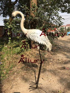 92cm high, metal,  white crane water bird garden decoration