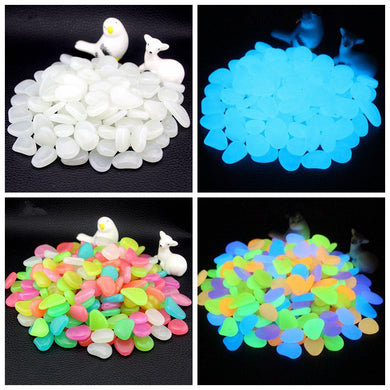 50PCS/Lot Glow In Dark Luminous Gardening Pebbles Stones