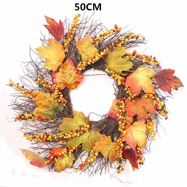 Berry Mapleleaf Fall Door Wreath/ Hanging Ornament Decoration