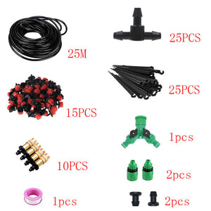 DIY 25m Automatic Watering Micro Drip Irrigation System-  Garden Self Watering Kits with Adjustable Dripper Spray Cooling
