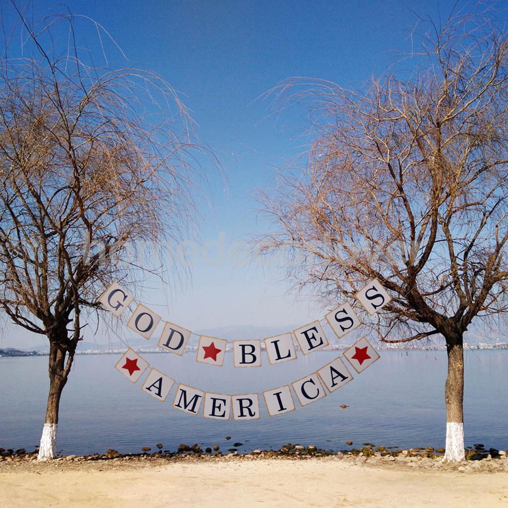 God Bless American Star Banner Homecoming Sign Patriotic July 4th Garland Hanging Decoration