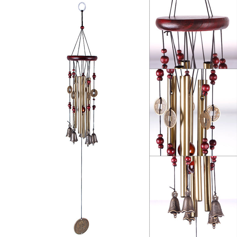 4 Tubes with 5 Bells -Copper Wind Chimes Yard and Garden Outdoor Living