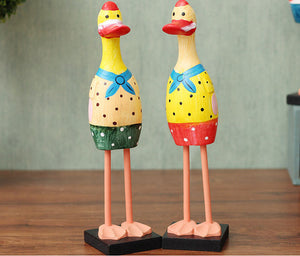 2 Pieces/set Wood Figurines Cute Duck