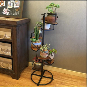 Iron art with solid wood floor, multi-layer flower-pot stand