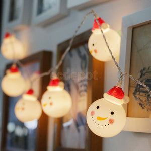 Santa Snowman Twinkle Lights 10 Strings Light Christmas Home Balcony Yard Ornament