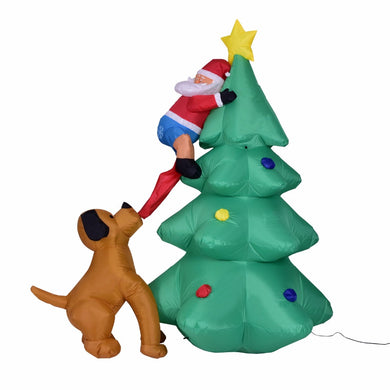 Giant inflatable Christmas tree Puppy bites Santa Claus climbing tree Blow Up  Prop