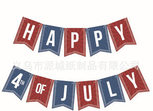Happy 4th of July Banner Patriotic Sign Independent Day Garland Hanging Decoration
