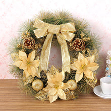 Christmas Artificial Wreath With Warm Bowknot Holiday Decorations Outdoor Tree Ornaments