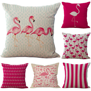 Funny Flamingo Printed Cotton Linen Pillow Case Decorative Throw Pillow Cover