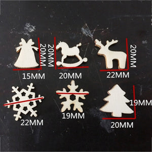 50pcs Mixed Wooden Christmas Tree Decoration