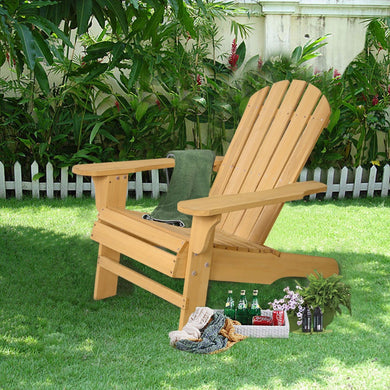 Outdoor Natural Fir Wood Adirondack Patio Lawn Deck Chair
