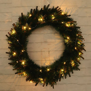 1pcs Christmas Wreath Warm Color LED Light Shiny Garland Wall Ornament for Front Door