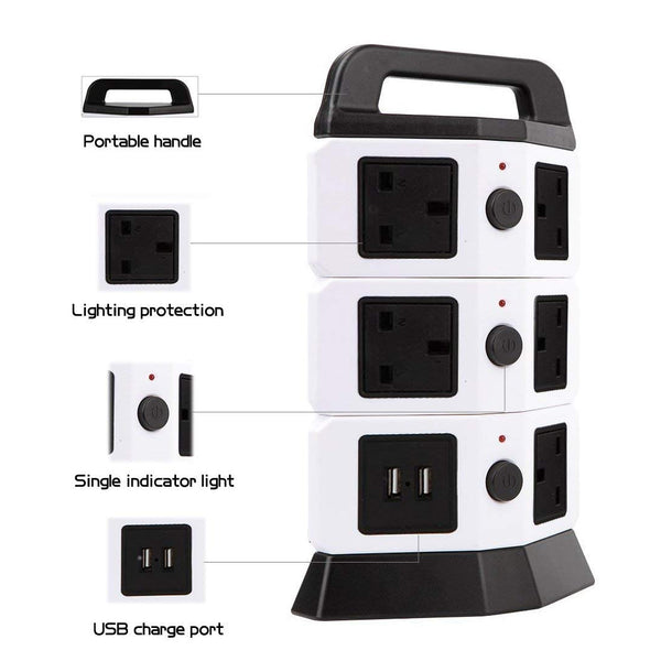 3M/9.8ft Extension Lead,HowiseAcc 8 Way Outlets 2 Smart USB Ports Tower Vertical Multi Socket Power Strip Adapter with Overload Protector and Ceramic SPD