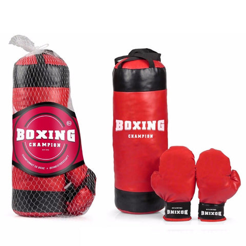Kids BOXING CHAMPION SET Punch Bag & Gloves Kit Child Exercise Birthday Gift Toy