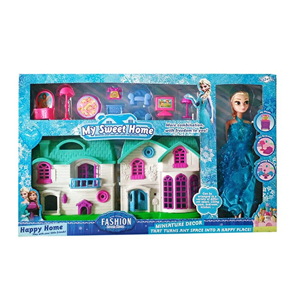 Indusbay Deluxe Doll House And Doll Elsa Frozen Theme Doll Playhouse