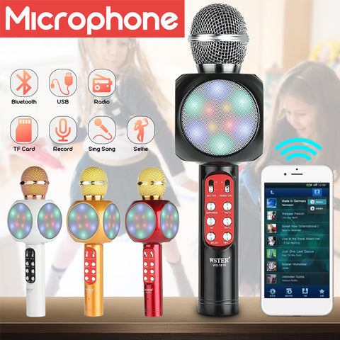 WS-1816 Wireless Bluetooth Karaoke Microphone Mic USB Speaker Home KTV Play