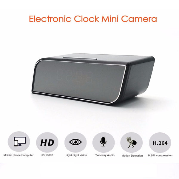 Mini Camera Clock HD 1080P WiFi Smart Mirror Clock with Night Vision Motion Detection IP Clock Support Android/iOS Phone