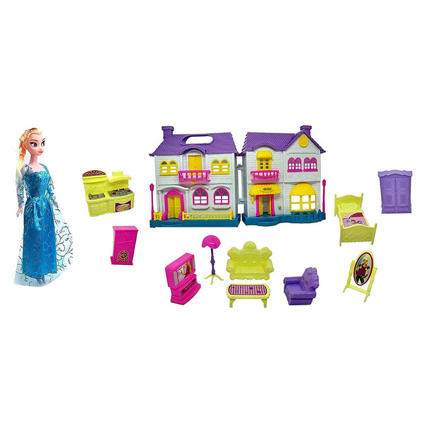IndusBay Deluxe Doll House and Doll Elsa Frozen-Theme Doll Playhouse with Furnitures and Accessories