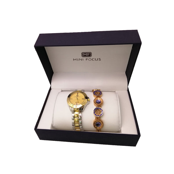 MINI FOCUS Fashion Classic Analog Quartz Watches for Women With Free Gift Bracelet
