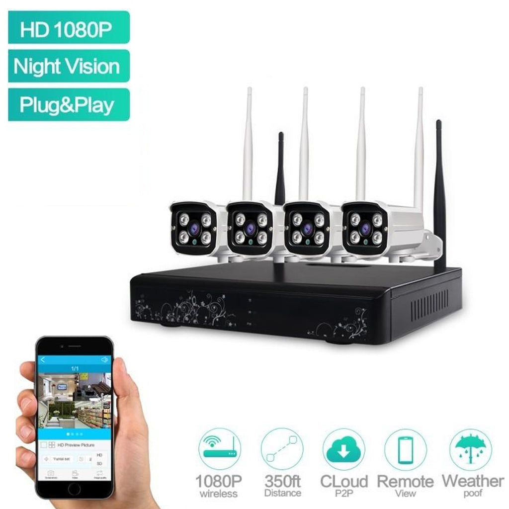 WIFI 4CH 1080P HD Wireless Network IP Security Camera System WIFI NVR Kit  2 0 MP Outdoor Home Video Surveillance System ANN