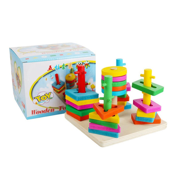 1 Set Intelligence Five Column Building Block Wooden Geometric sleeve Children Toy Educational toys