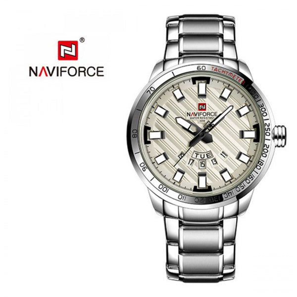 Naviforce Casual Analog Stainless Steel Watch For Men, Silver White