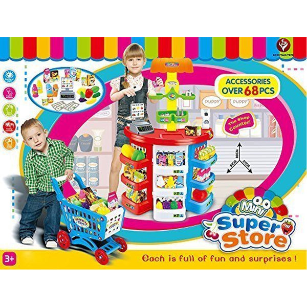Mini Super Store With Trolley - Accessories Over 68 Pcs