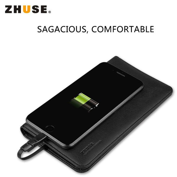 Wallet 2-in-1 ZHUSE Universal Leather 6800mAh Power Bank SUPPORT TYPE-C IOS Micro MOBILE