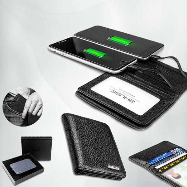 OOTD ZHUSE PU Leather Wallet with 4000 mAH Built In Powerbank and Charging Cable (IOS and Android)