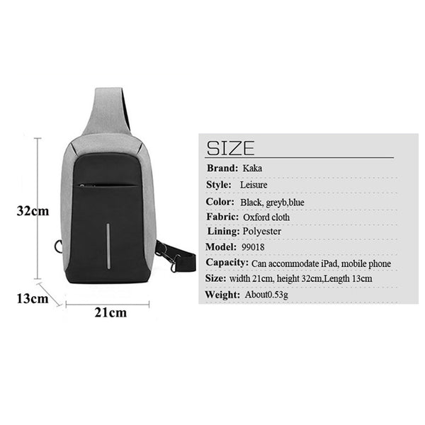 Crossbody Bag Anti Theft Backpack USB Rechargeable