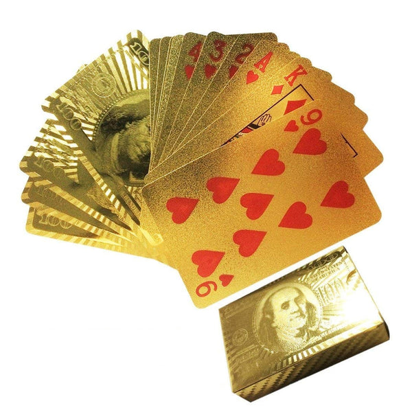 Poker Luxury 24K Gold Foil Poker Playing Cards with Golden Box Gift Idea