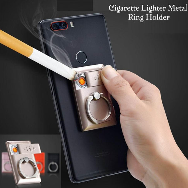 Mobile Phone Holder Ring Lighter Windproof USB Charging Mini Cigarette Lighter Universal 360 Degree Finger Ring phone stand with USB Lighter