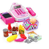 Cash Register Toy Set for Kids, Pretend Play with Groceries Shopping Basket Checkout Educational Learning Toys