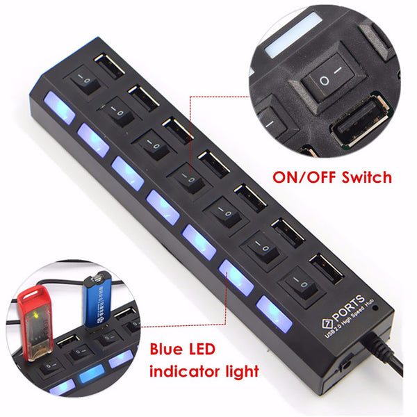 7 Ports LED USB 2.0 Adapter Hub Power on/off